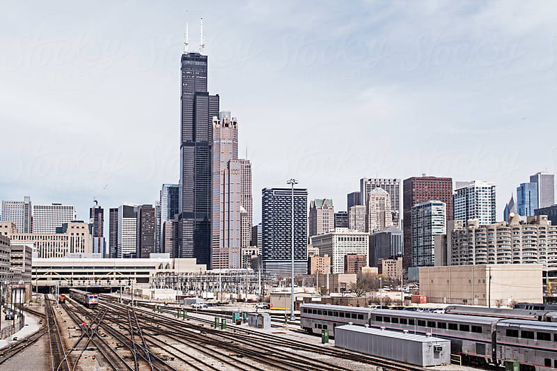 Chicago Skyline seen from the South, railways to Union Staion in front by Melanie Kintz for Stocksy United