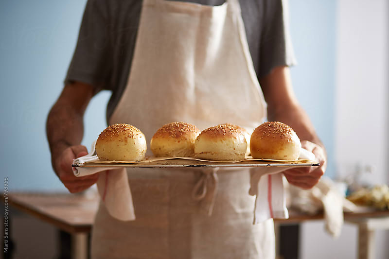 Homemade burger buns by Martí Sans for Stocksy United