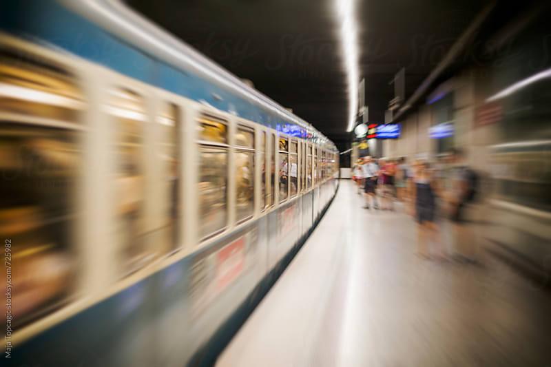 Train departing in Munich by Maja Topcagic for Stocksy United
