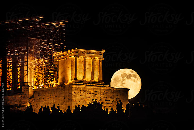 Moonrise over Athena Nike at the Acropolis in Athens by Helen Sotiriadis for Stocksy United