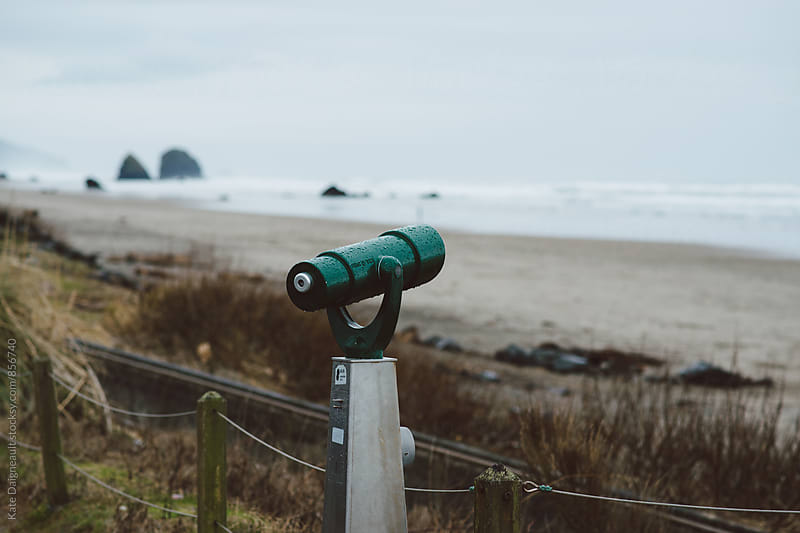 View finder looking out over the Oregon coast. by Kate Daigneault for Stocksy United