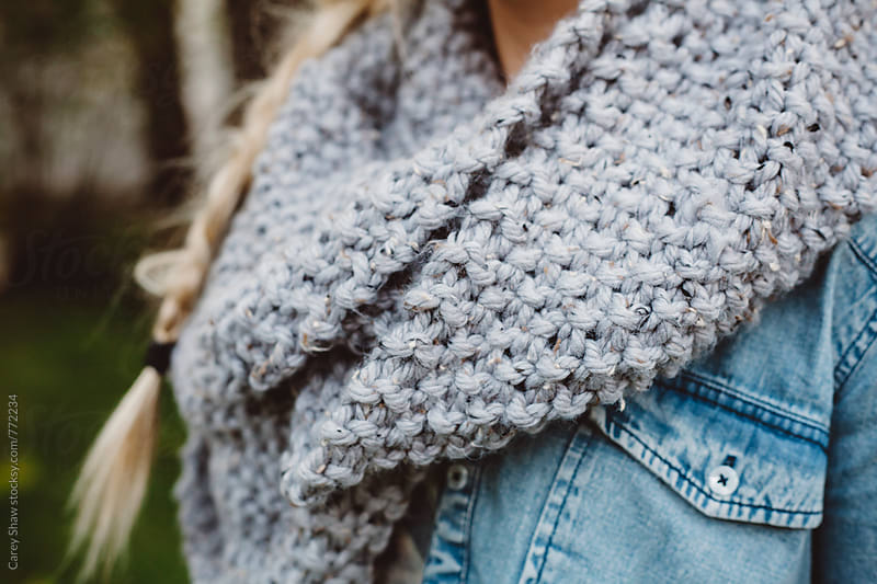 Chunky grey knit scarf by Carey Shaw for Stocksy United