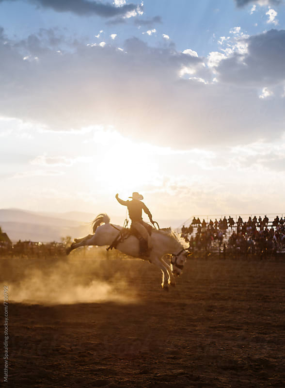 Cowboy riding horse at rodeo by Matthew Spaulding for Stocksy United