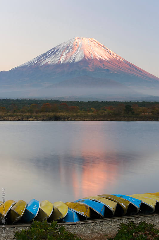Japan, Honshu, Fuji-Hakone-Izu National Park, Lake Shoji-ko and Mount Fuji in evening light by Gavin Hellier for Stocksy United