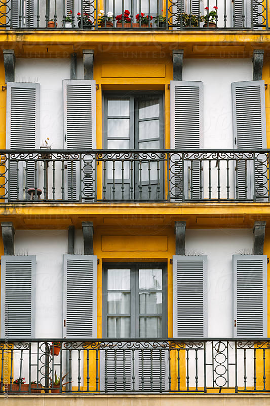 Old Facade with Balconies in San Sebastian, Spain by VICTOR TORRES for Stocksy United