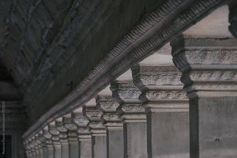 Carved Stone wall detail at Angkor Wat, Cambodia by Rowena Naylor for Stocksy United