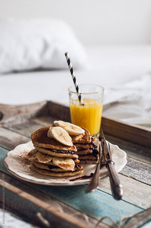 Homemade Pancakes with Banana by Alie Lengyelova for Stocksy United