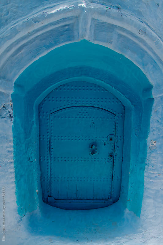 Tipical Chefchaouen door, the blue city by Blue Collectors for Stocksy United