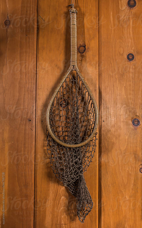 Antique Fishing Net against Wood by suzanne clements for Stocksy United