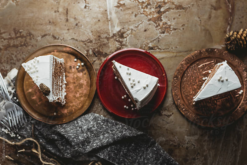 Slices of winter cake with pearls by Tatjana Ristanic for Stocksy United
