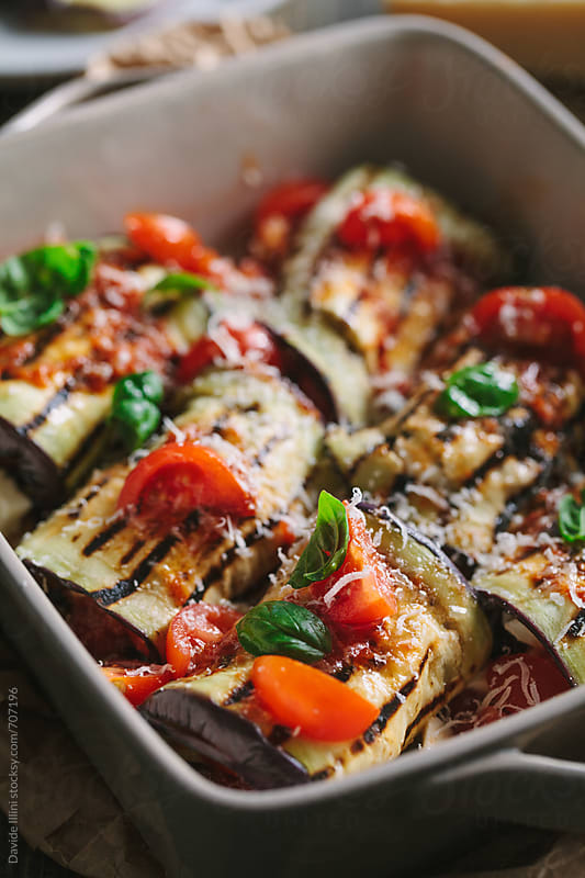 Stuffed Roasted Eggplant Rolls by Davide Illini for Stocksy United