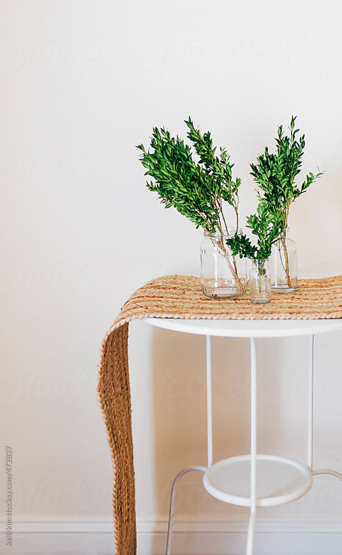 Jars filled with holiday greenery by Kelli Seeger Kim for Stocksy United