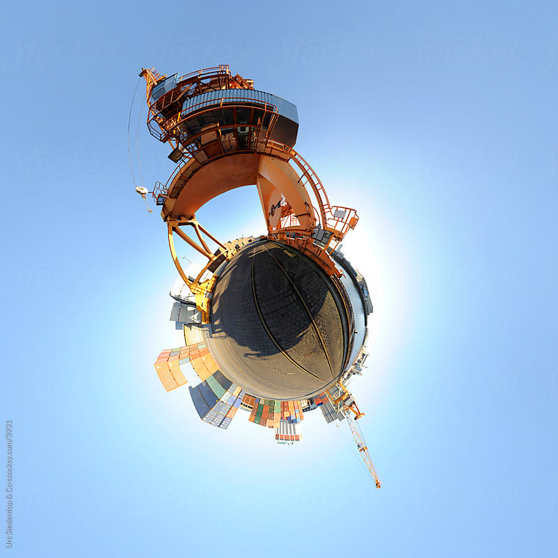 Harbor Planet - Little planet - spherical panorama of harbour by Urs Siedentop & Co for Stocksy United