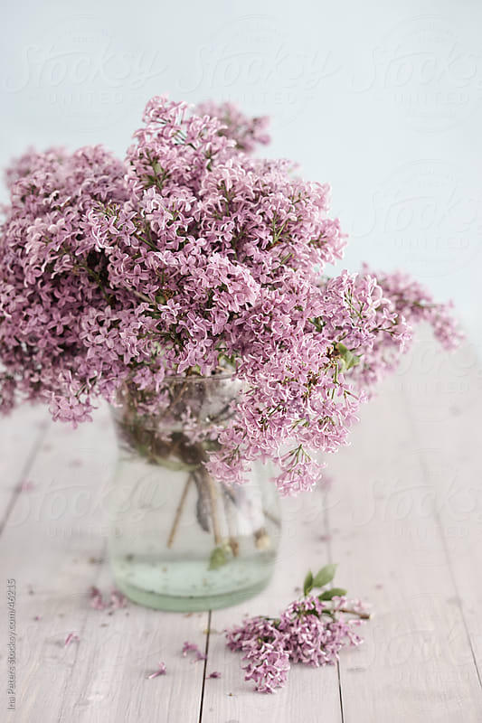 Flowers: Lilacs in a vase on wood table by Ina Peters for Stocksy United