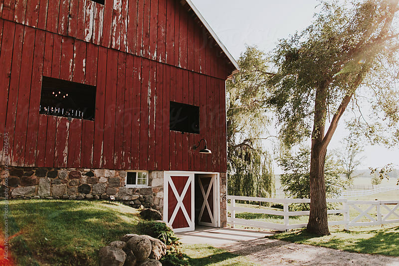 Wedding Reception Barn Venue Exterior by Alicia Magnuson Photography for Stocksy United