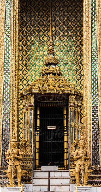 Detail on the entrance of Golden Palace complex.Bangkok/Thailand by Marko Milanovic for Stocksy United
