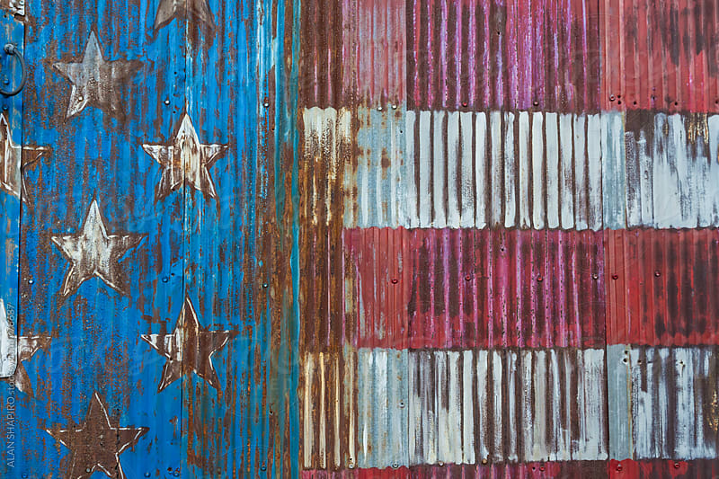 American Flag on distressed metal by alan shapiro for Stocksy United