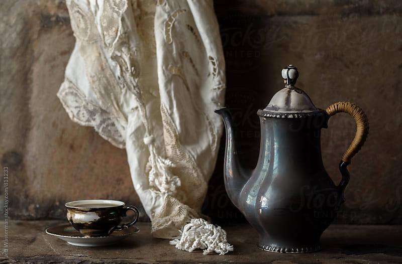 Coffee in Antique Cup and Pot in Rustic Setting by Studio Six for Stocksy United