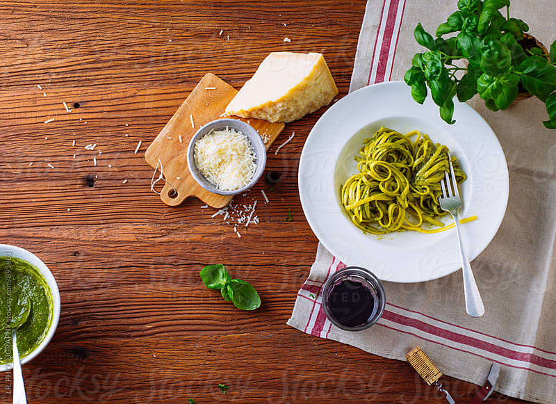 Tagliatelle with pesto by J.R. PHOTOGRAPHY for Stocksy United