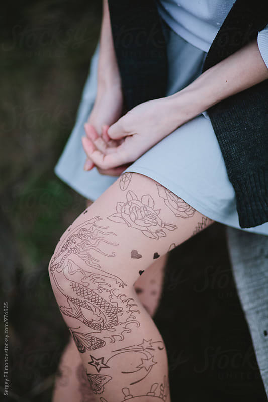 tattoo tights with the image of the Mermaid by Sergey Filimonov for Stocksy United