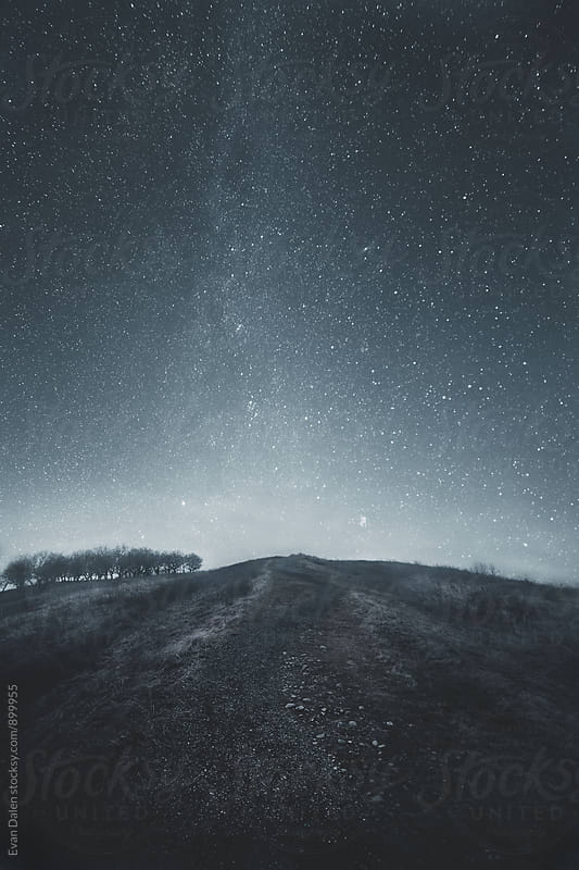 Winding Path Up Hill with Starry Sky by Evan Dalen for Stocksy United