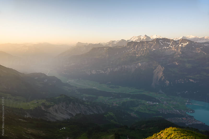 Mountains of Switzerland: Panorama from Brienzer Rothorn at sunrise by Peter Wey for Stocksy United