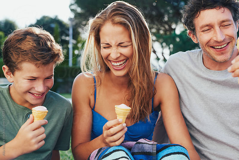 family fun bonding eating ice cream in summer by Aila ...