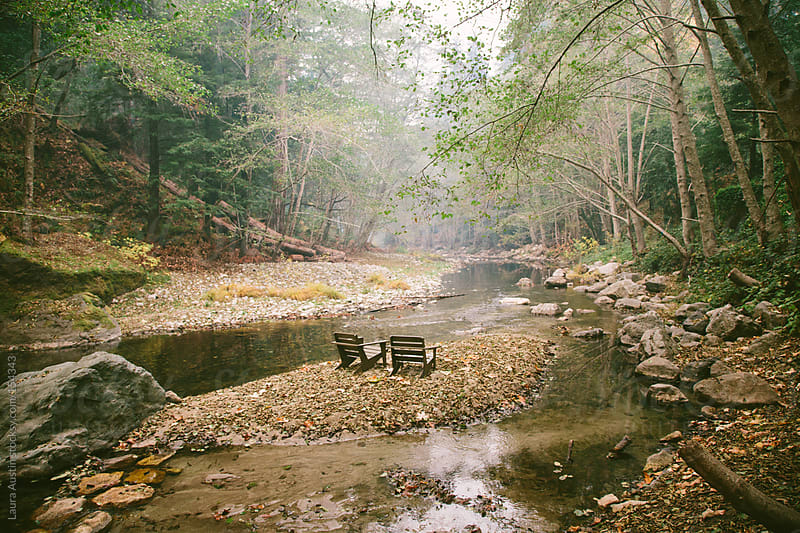 Chairs in the middle of a foggy forest and river by Laura Austin for Stocksy United