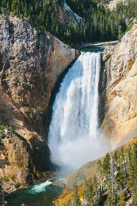Lower Yellowstone Waterfall Along Yellowstone River Canyon by Luke Mattson for Stocksy United