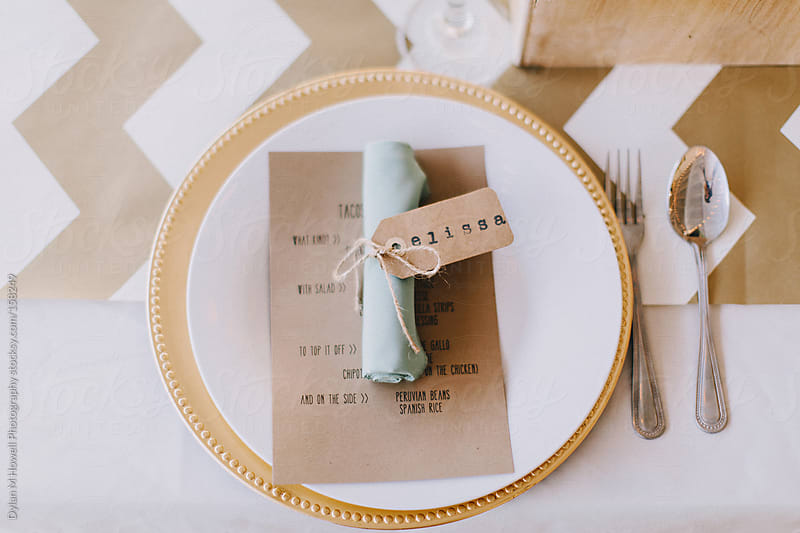 Wedding Reception Plate by Dylan M Howell Photography for Stocksy United