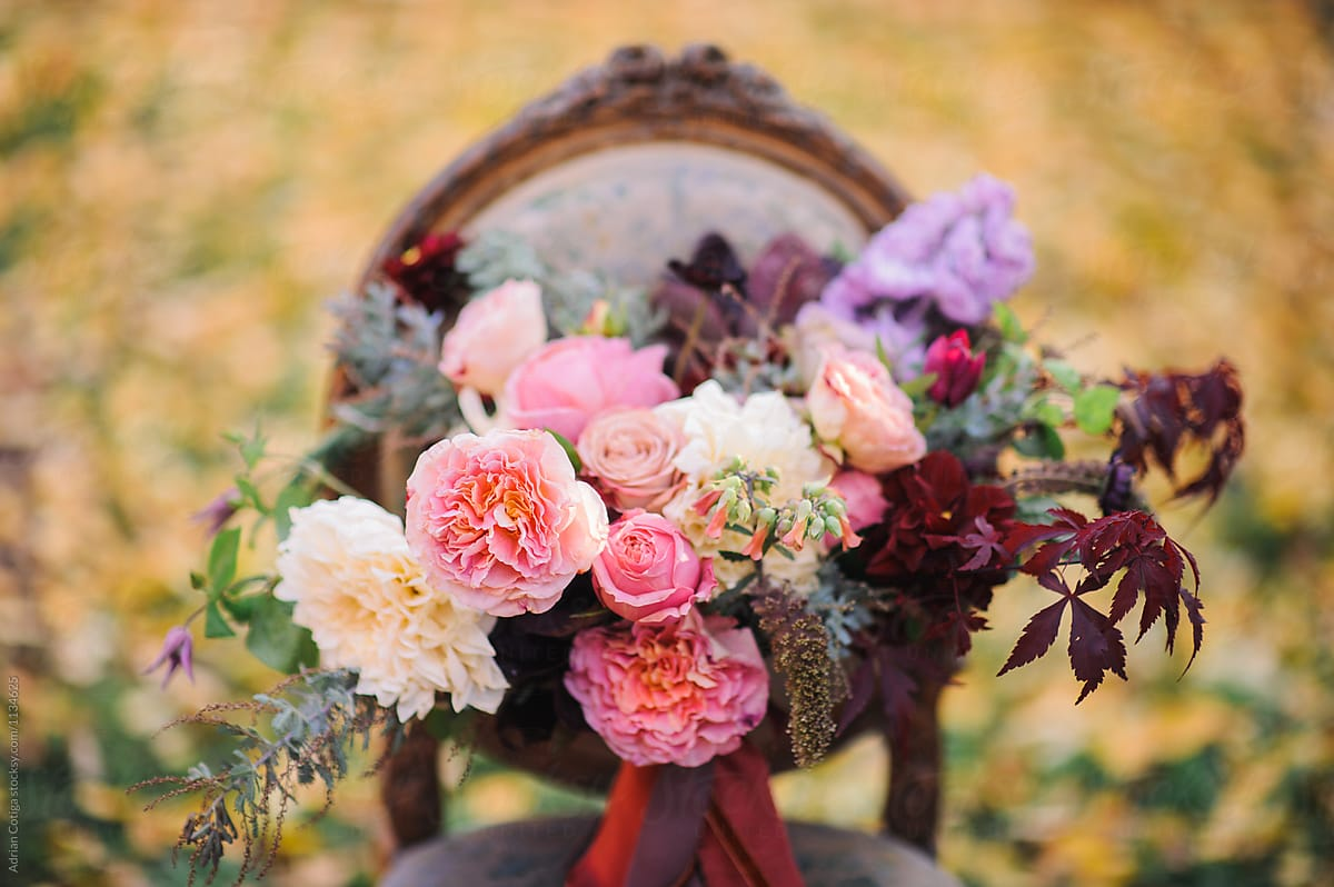Autumn Themed Wedding Floral Bouquet Fall Flowers Bouquet Stocksy