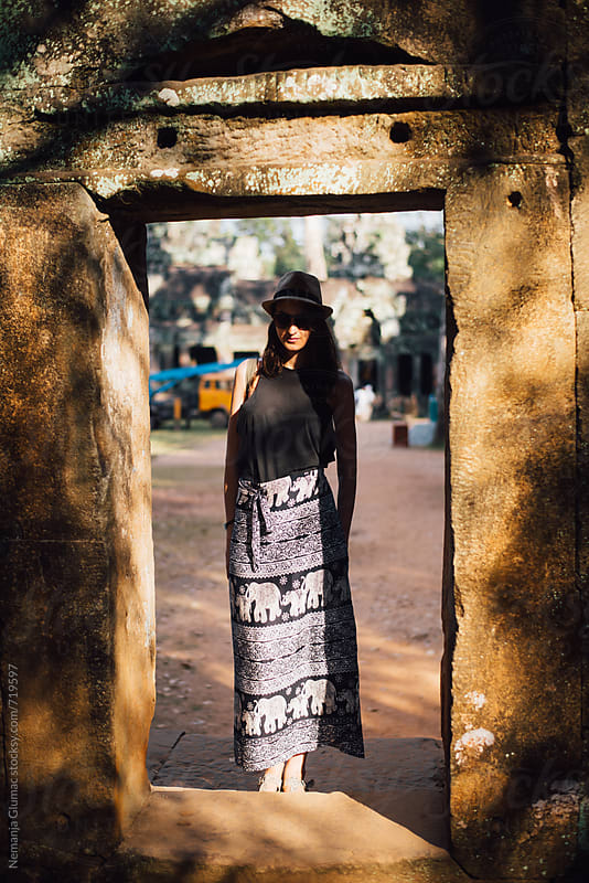 Female Tourist Visiting Angkor Wat by Nemanja Glumac for Stocksy United