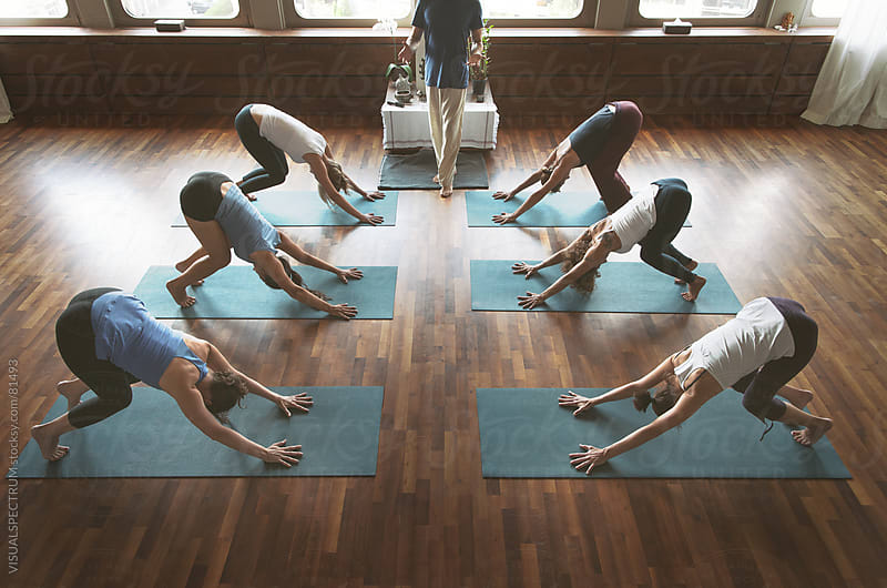 Downward Dog in Yoga Class by VISUALSPECTRUM for Stocksy United