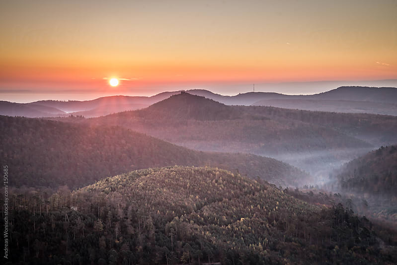 Sunrise over Hills of Palatinate Forest by Andreas Wonisch for Stocksy United