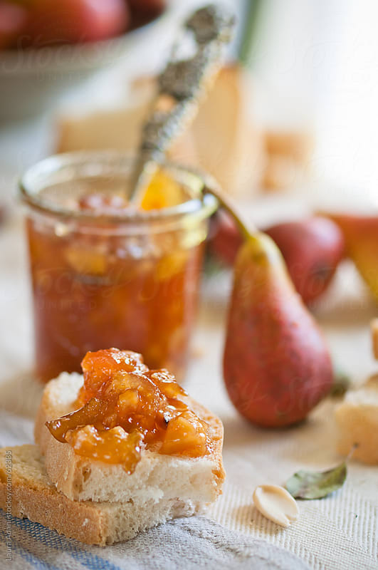 red pears jam with calvados, cinnamon and almond by Laura Adani for Stocksy United