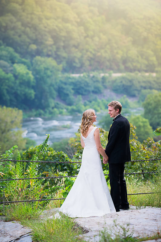 Bride and Groom at Scenic Valley Overlook by Brian McEntire for Stocksy United