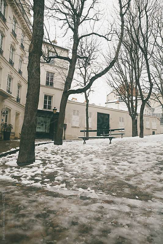 Emile Goudeau square in Montmartre (Paris, France) with melting snow by Ivan Bastien for Stocksy United