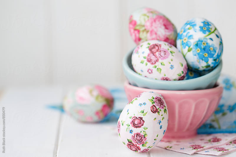 Decoupage Easter eggs decorated with paper napkins by Ruth Black for Stocksy United