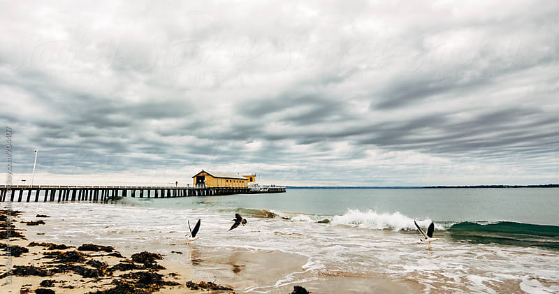 Small wave crashing near Pier by Gary Radler Photography for Stocksy United