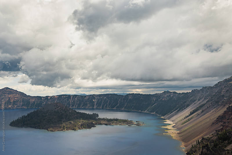 Crater Lake, view of Wizard Island by Amy Covington for Stocksy United