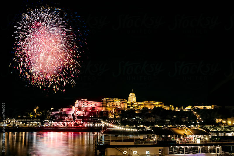 Fireworks over the Danube in Budapest, Hungary by Beatrix Boros for Stocksy United