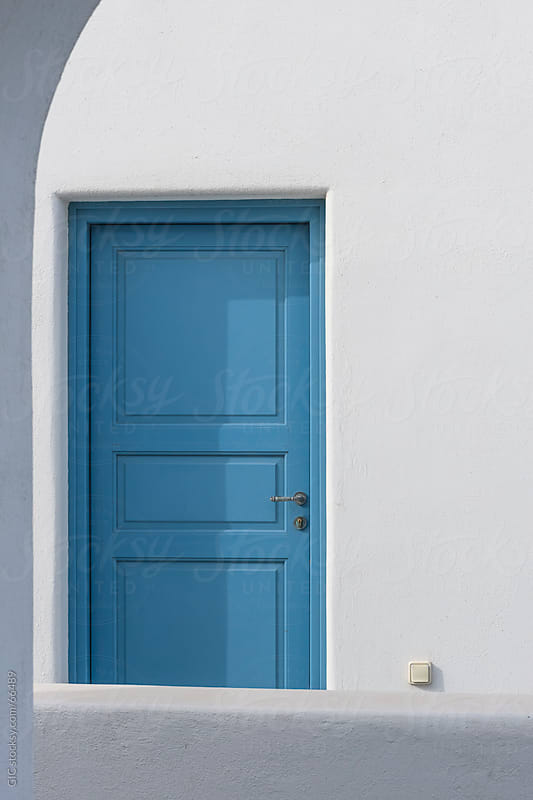 Traditional blue door in Santorini by GIC for Stocksy United
