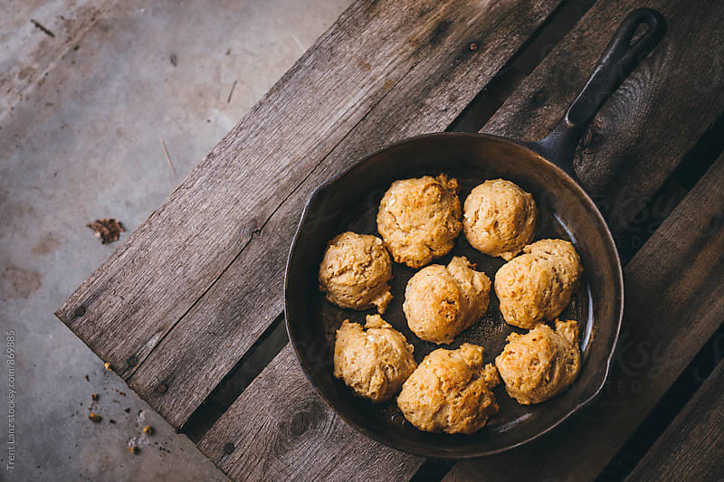 Homemade golden brown flaky biscuits by Trent Lanz for Stocksy United