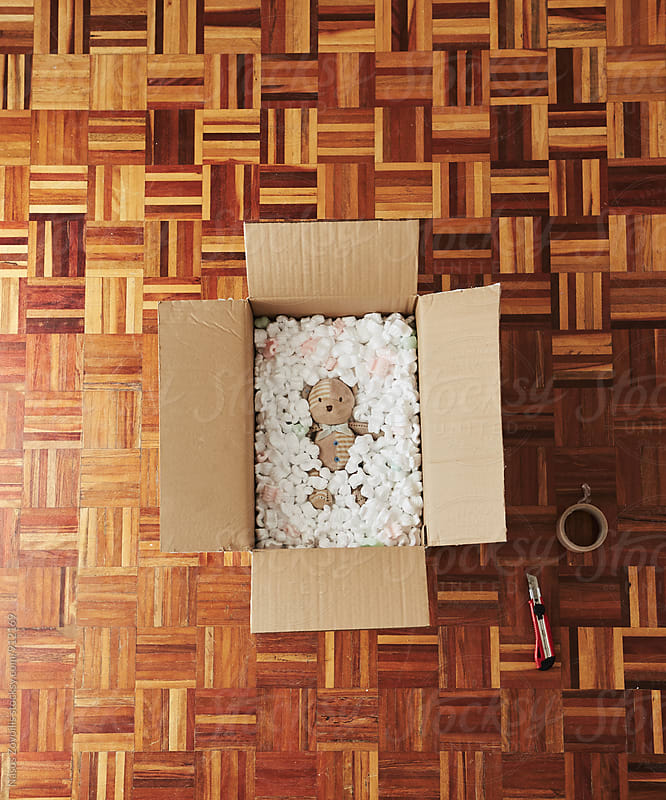 Packing teddy bear in a cardboard box by Nasos Zovoilis for Stocksy United