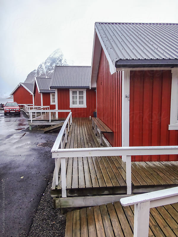 Red cabins in Lofoten by Marilar Irastorza for Stocksy United