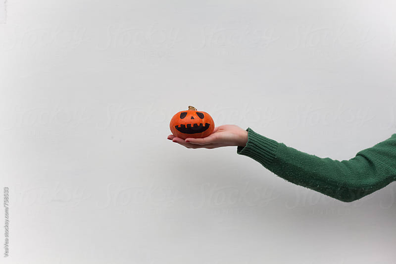 Female hand holding a small Halloween pumpkin in front of a white wall by Marija Mandic for Stocksy United