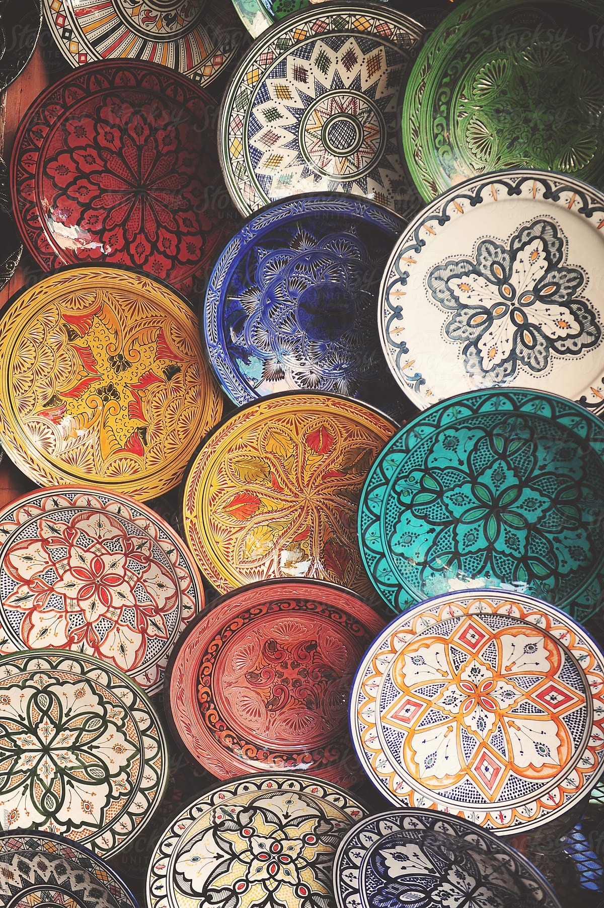Plates For Sale >> Hand Painted Plates For Sale In A Bazaar In Morocco By