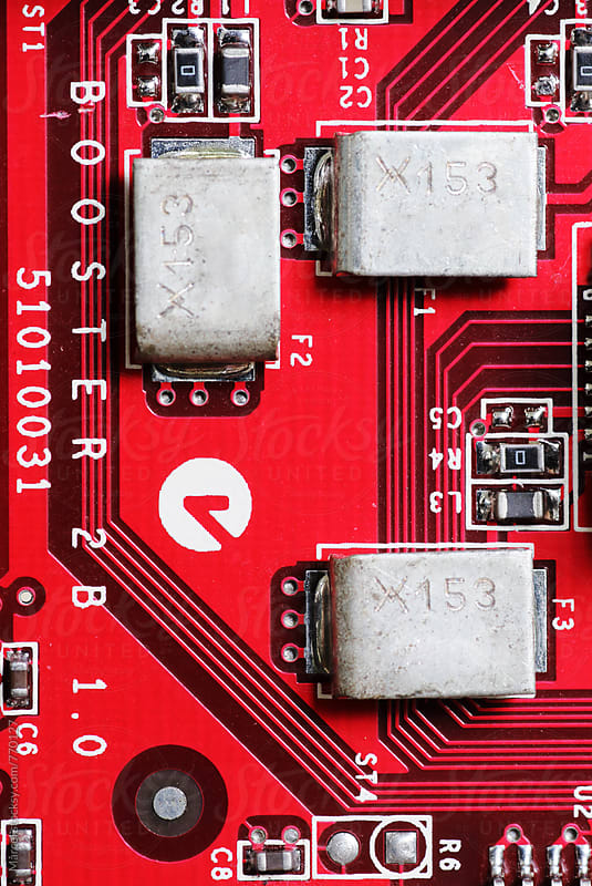 Red circuit board of a computer by Marcel for Stocksy United