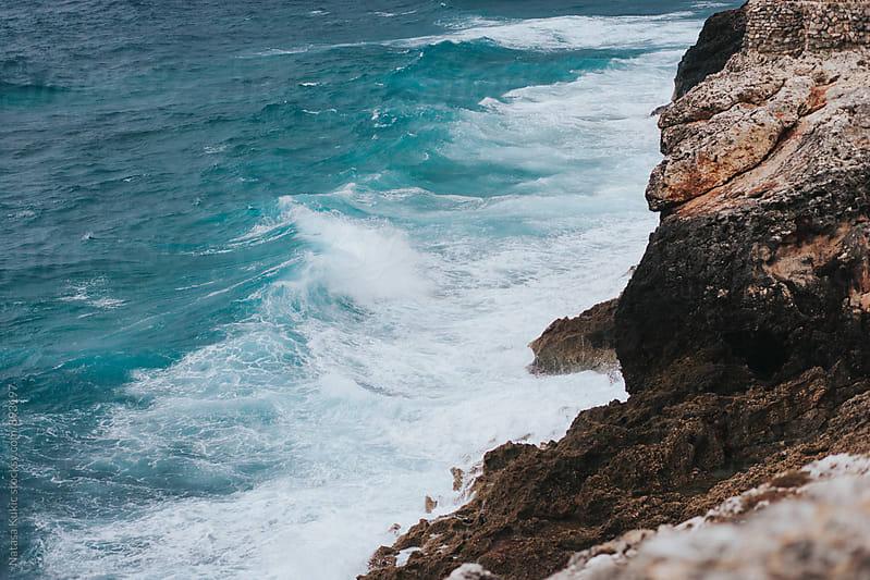 Atlantic ocean waves hitting the rocks  by Natasa Kukic for Stocksy United