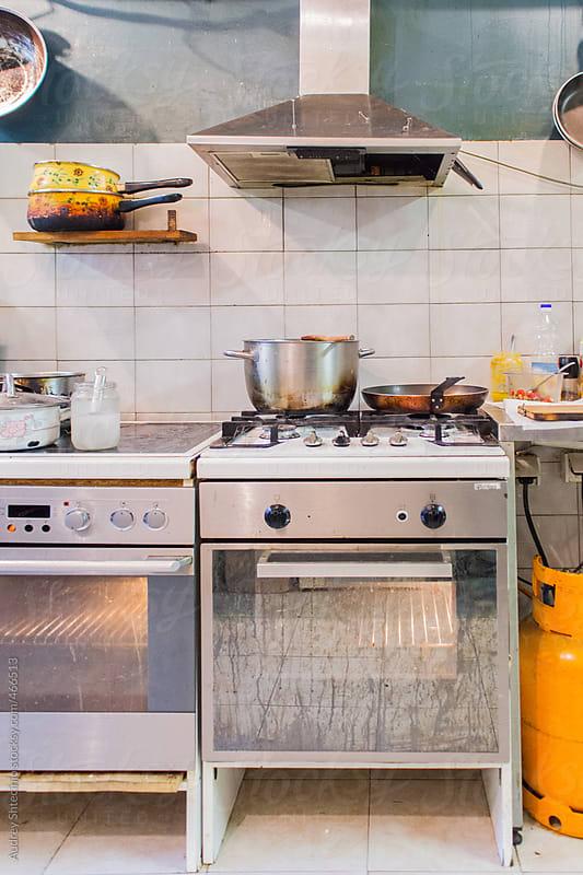 Interior of retro restaurant kitchen. by Audrey Shtecinjo for Stocksy United
